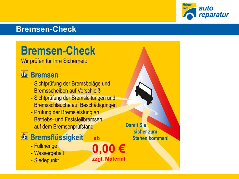 Bremsen-Check ab 0,00 € zzgl. Material