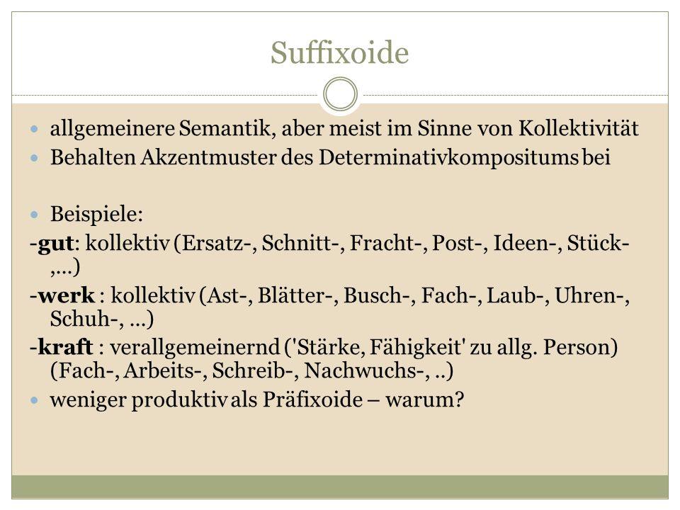 Suffixoide allgemeinere Semantik, aber meist im Sinne von Kollektivität Behalten Akzentmuster des Determinativkompositums bei Beispiele: -gut: kollekt