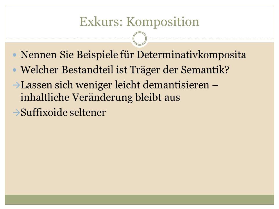 Exkurs: Komposition Nennen Sie Beispiele für Determinativkomposita Welcher Bestandteil ist Träger der Semantik?  Lassen sich weniger leicht demantisi