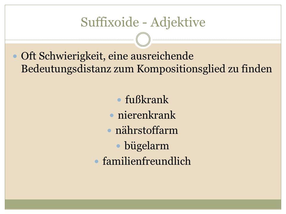 Suffixoide - Adjektive Oft Schwierigkeit, eine ausreichende Bedeutungsdistanz zum Kompositionsglied zu finden fußkrank nierenkrank nährstoffarm bügela