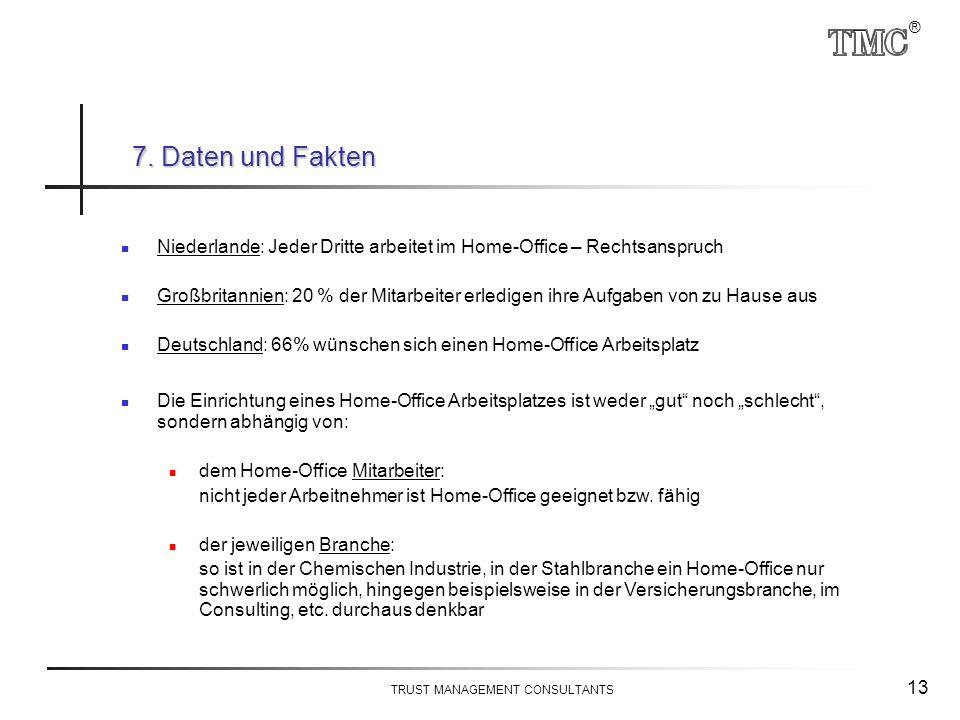 ® TRUST MANAGEMENT CONSULTANTS 13 Niederlande: Jeder Dritte arbeitet im Home-Office – Rechtsanspruch Großbritannien: 20 % der Mitarbeiter erledigen ih