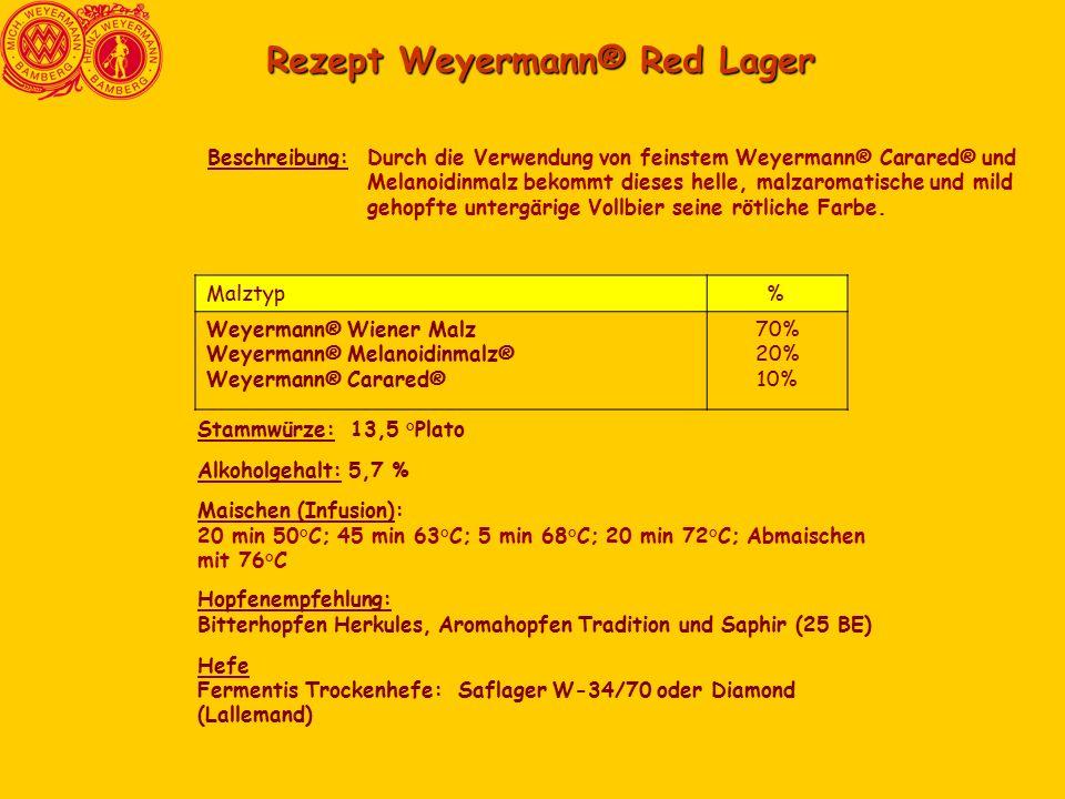Rezept Weyermann® Red Lager Durch die Verwendung von feinstem Weyermann® Carared® und Melanoidinmalz bekommt dieses helle, malzaromatische und mild gehopfte untergärige Vollbier seine rötliche Farbe.