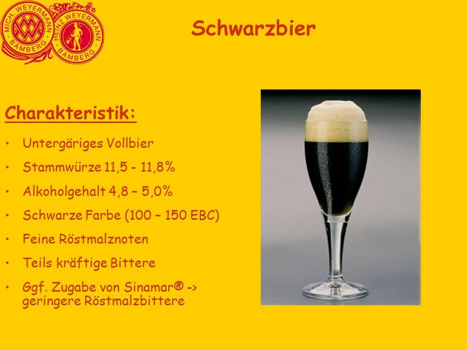 Charakteristik: Untergäriges Vollbier Stammwürze 11,5 - 11,8% Alkoholgehalt 4,8 – 5,0% Schwarze Farbe (100 – 150 EBC) Feine Röstmalznoten Teils kräftige Bittere Ggf.