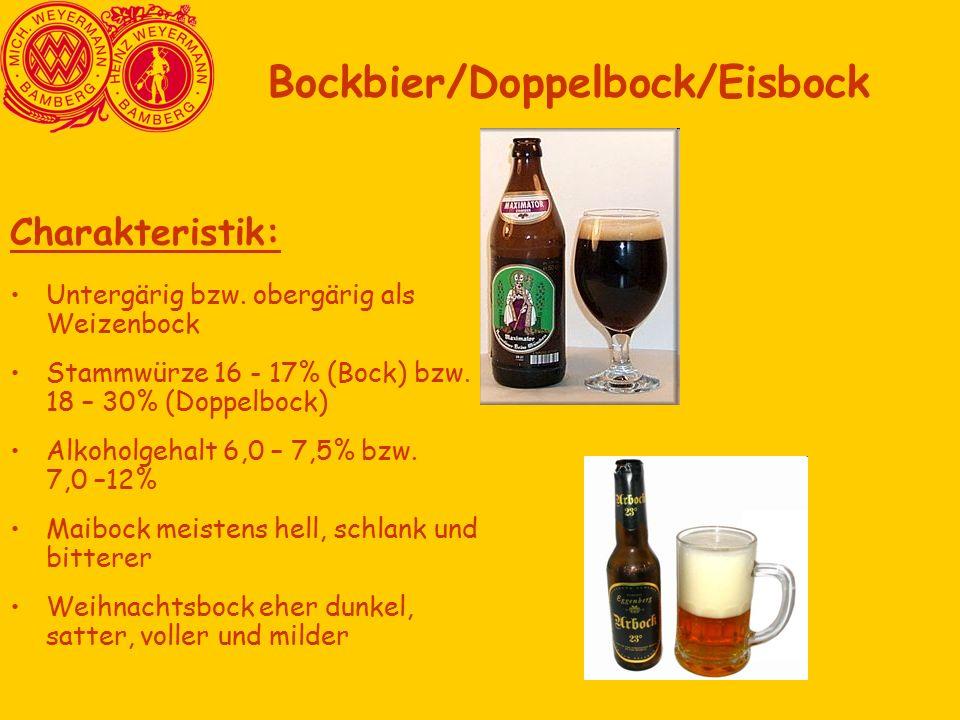 Charakteristik: Untergärig bzw. obergärig als Weizenbock Stammwürze 16 - 17% (Bock) bzw.