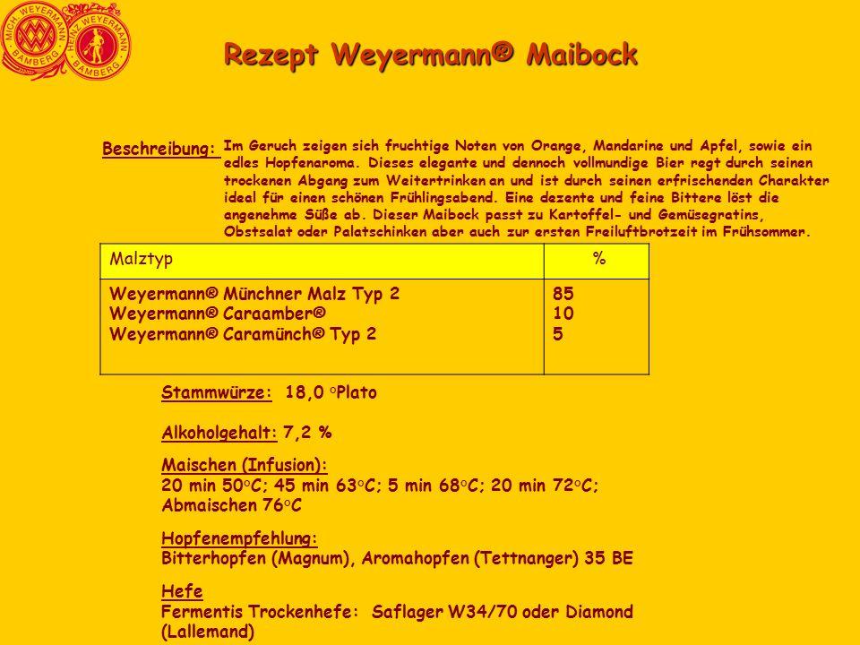 Rezept Weyermann® Maibock Im Geruch zeigen sich fruchtige Noten von Orange, Mandarine und Apfel, sowie ein edles Hopfenaroma.