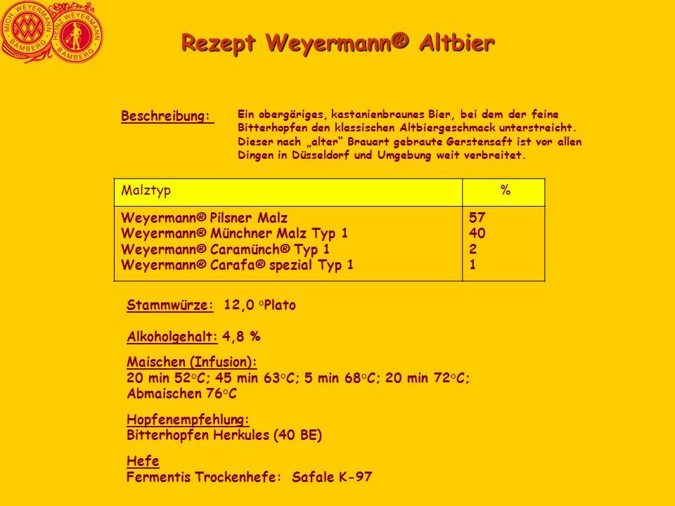 Rezept Weyermann® Altbier Ein obergäriges, kastanienbraunes Bier, bei dem der feine Bitterhopfen den klassischen Altbiergeschmack unterstreicht.