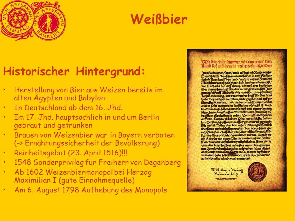 Historischer Hintergrund: Herstellung von Bier aus Weizen bereits im alten Ägypten und Babylon In Deutschland ab dem 16.