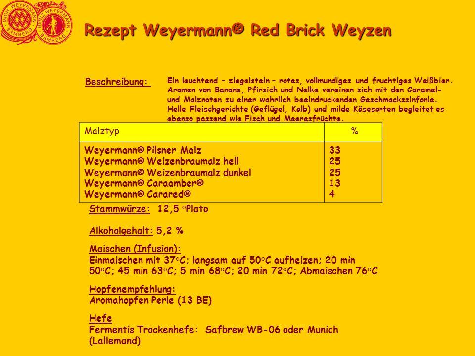 Rezept Weyermann® Red Brick Weyzen Ein leuchtend – ziegelstein – rotes, vollmundiges und fruchtiges Weißbier.