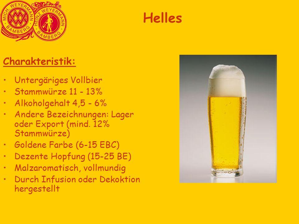 Charakteristik: Untergäriges Vollbier Stammwürze 11 - 13% Alkoholgehalt 4,5 - 6% Andere Bezeichnungen: Lager oder Export (mind.