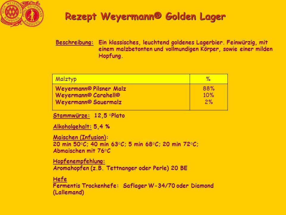 Rezept Weyermann® Golden Lager Ein klassisches, leuchtend goldenes Lagerbier.