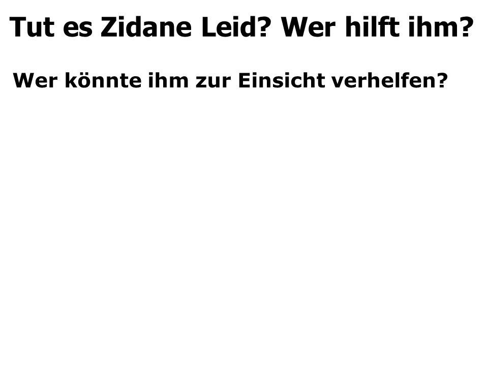 Wer könnte ihm zur Einsicht verhelfen? Tut es Zidane Leid? Wer hilft ihm?