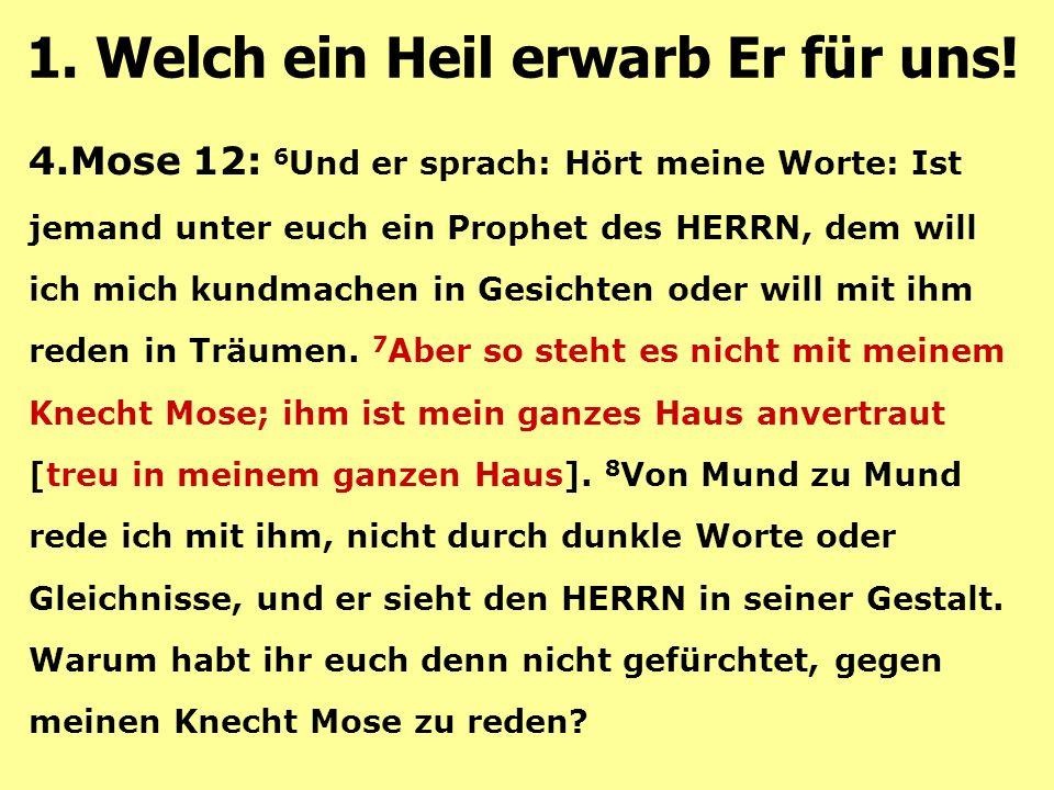 4.Mose 12: 6 Und er sprach: Hört meine Worte: Ist jemand unter euch ein Prophet des HERRN, dem will ich mich kundmachen in Gesichten oder will mit ihm