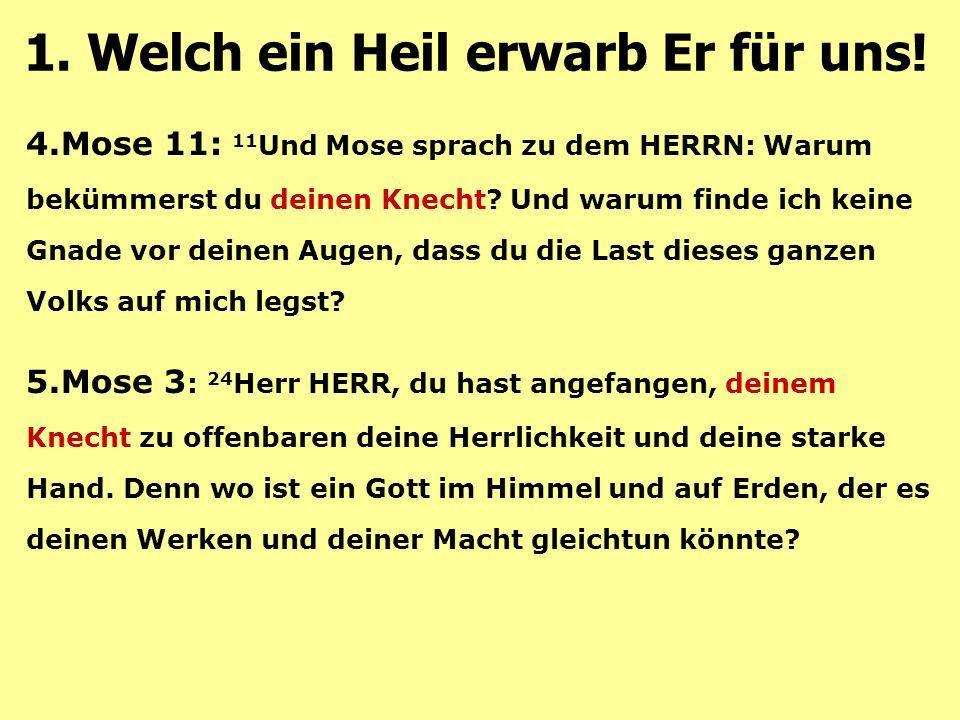 4.Mose 11: 11 Und Mose sprach zu dem HERRN: Warum bekümmerst du deinen Knecht.