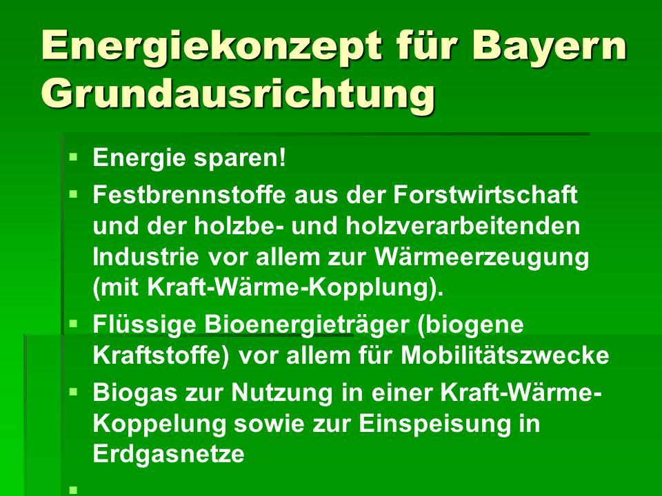 Energiekonzept für Bayern Grundausrichtung   Energie sparen.