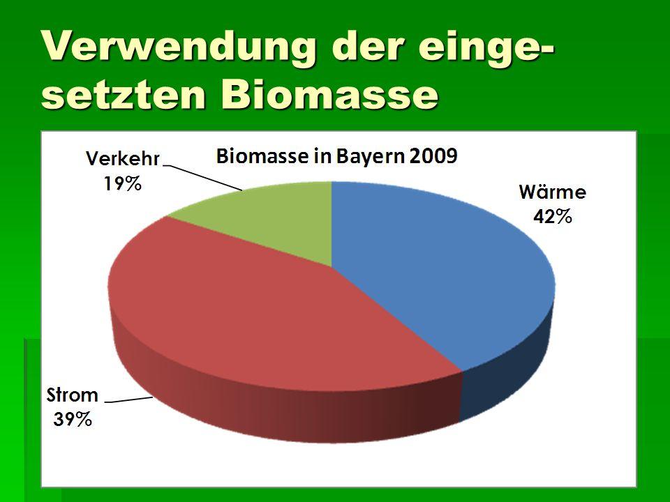 Verwendung der einge- setzten Biomasse