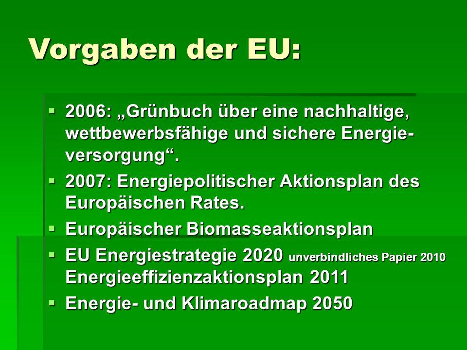 """Vorgaben der EU:  2006: """"Grünbuch über eine nachhaltige, wettbewerbsfähige und sichere Energie- versorgung ."""