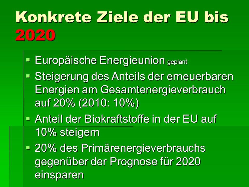Ziele der EU bis 2020  Treibhausgasimmissionen der EU bis 2020 um 30% senken – sofern andere Industrieländer sich vergleichbare Ziele setzen  Verpflichtung der EU (unabhängig vom Vorgehen anderer Staaten) Treibhaus- gase um 20%, bei Kraftwerken und Industrien um 21 % zu senken (Basis 1990).