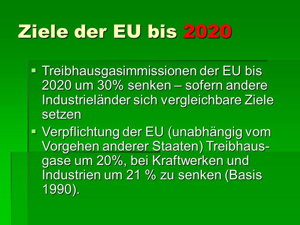 Ziele der EU bis 2030  Verringerung der Treibhausgas- emissionen um 40%  Mindestens 27% der Energie aus erneuerbaren Quellen  Steigerung der Energieeffizienz um 27 – 30 %  15% des in der EU erzeugten Stroms kann in andere EU-Länder exportiert werden