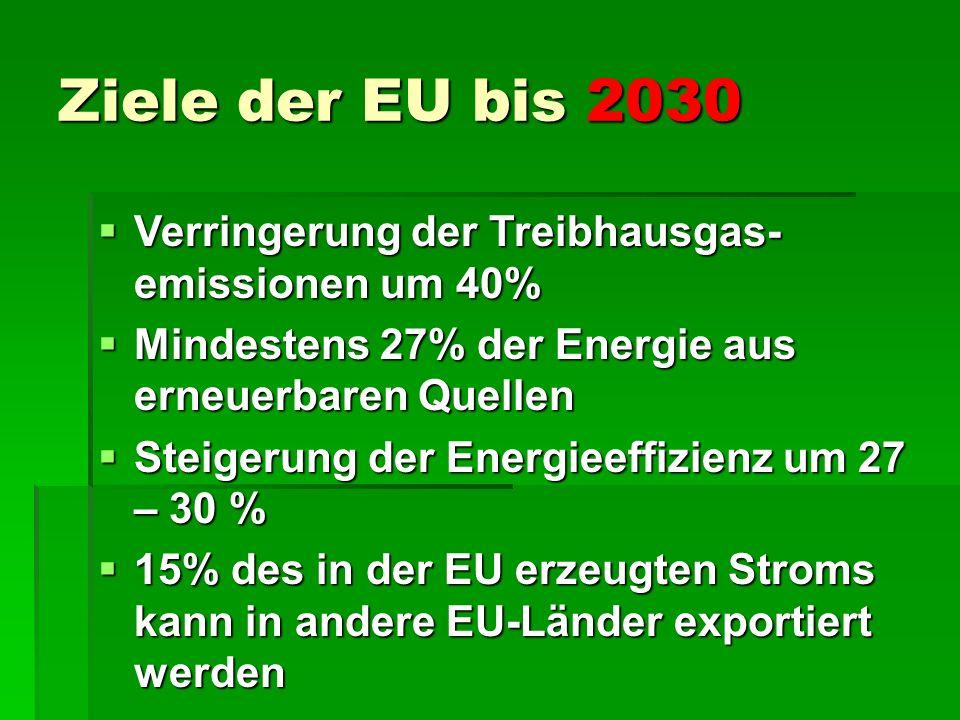 Biomassean- lagen zur Strom- erzeugung Biogasanlagen : 2360 Heizkraftwerke: 3900 Windkraftanlagen: 833 Wasserkraftwerke: 4100 Tiefengeothermie: 4