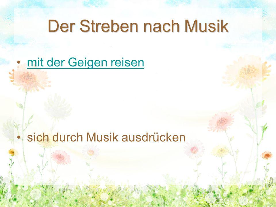 Der Streben nach Musik mit der Geigen reisen sich durch Musik ausdrücken