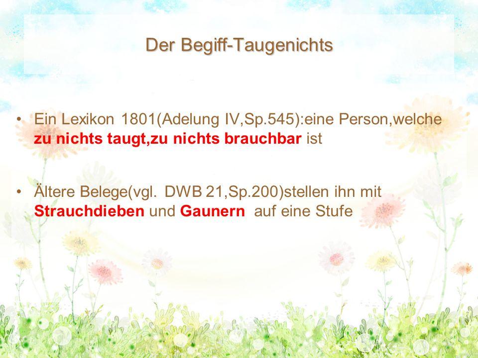 Der Begiff-Taugenichts Ein Lexikon 1801(Adelung IV,Sp.545):eine Person,welche zu nichts taugt,zu nichts brauchbar ist Ältere Belege(vgl. DWB 21,Sp.200