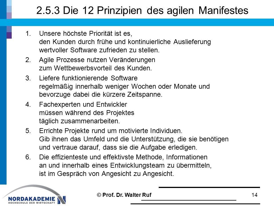 2.5.3 Die 12 Prinzipien des agilen Manifestes 1.Unsere höchste Priorität ist es, den Kunden durch frühe und kontinuierliche Auslieferung wertvoller So