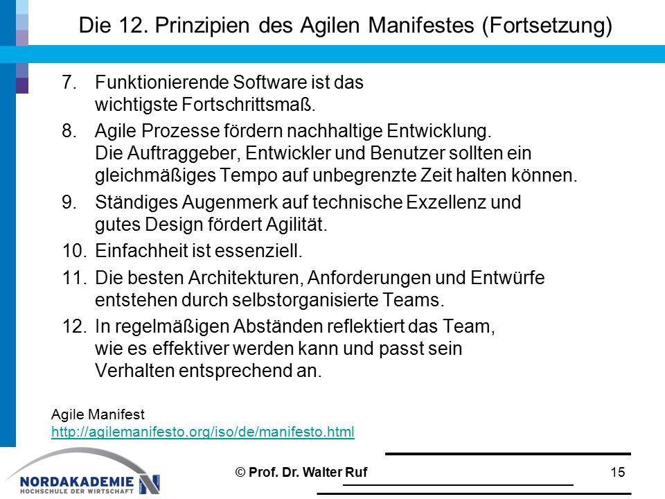 Die 12. Prinzipien des Agilen Manifestes (Fortsetzung) 7.Funktionierende Software ist das wichtigste Fortschrittsmaß. 8.Agile Prozesse fördern nachhal