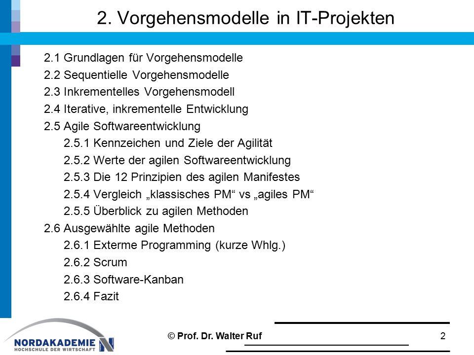 2. Vorgehensmodelle in IT-Projekten 2.1 Grundlagen für Vorgehensmodelle 2.2 Sequentielle Vorgehensmodelle 2.3 Inkrementelles Vorgehensmodell 2.4 Itera