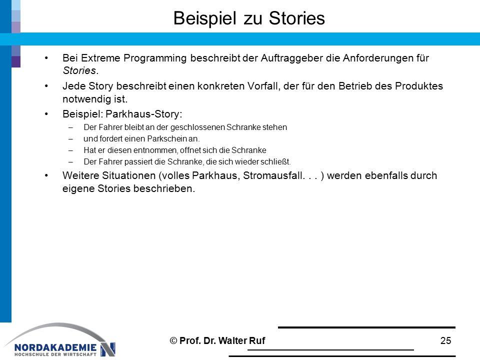 Beispiel zu Stories Bei Extreme Programming beschreibt der Auftraggeber die Anforderungen für Stories. Jede Story beschreibt einen konkreten Vorfall,