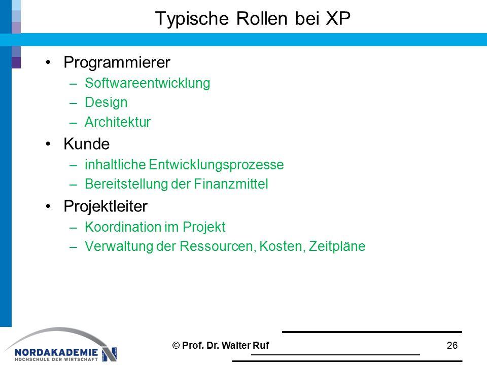 Typische Rollen bei XP Programmierer –Softwareentwicklung –Design –Architektur Kunde –inhaltliche Entwicklungsprozesse –Bereitstellung der Finanzmitte