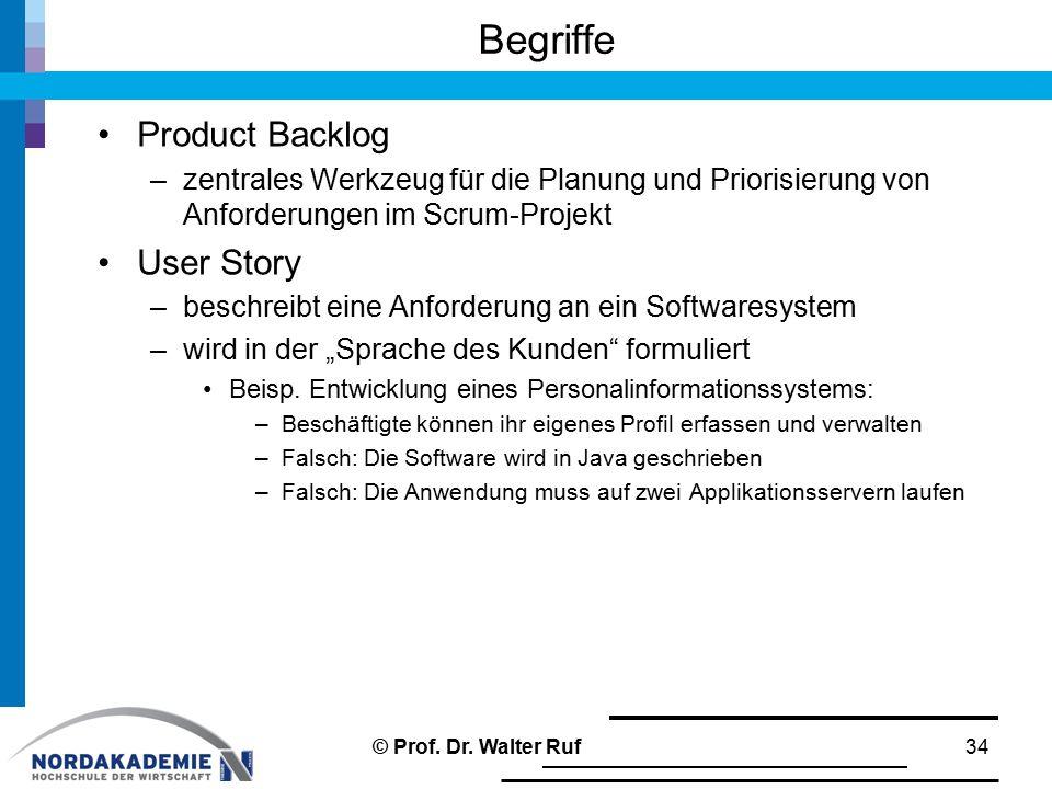 Begriffe Product Backlog –zentrales Werkzeug für die Planung und Priorisierung von Anforderungen im Scrum-Projekt User Story –beschreibt eine Anforder