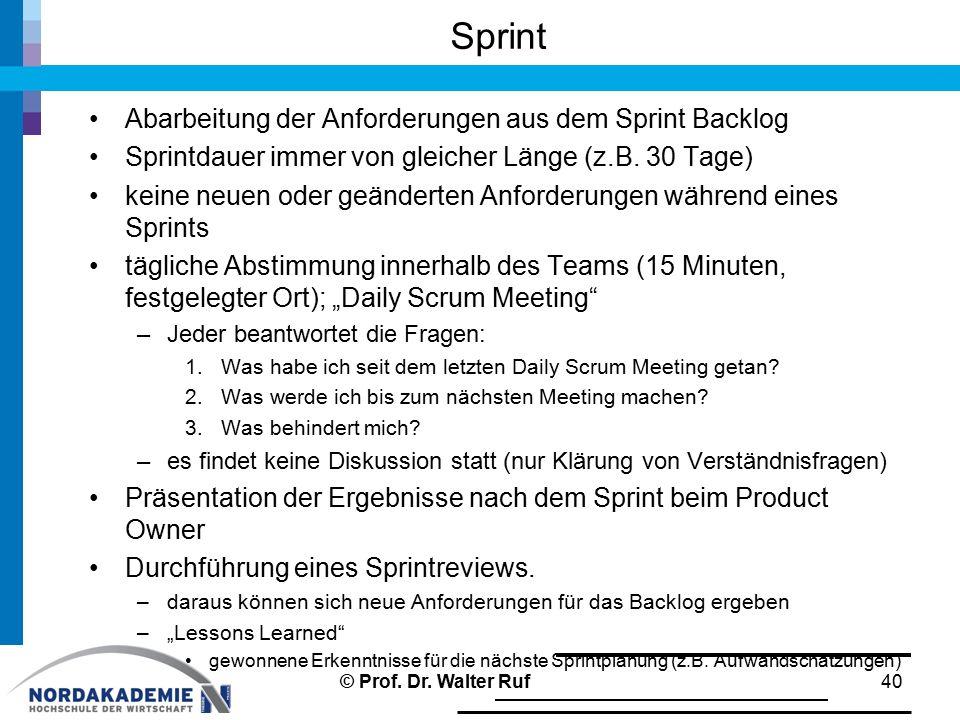 Sprint Abarbeitung der Anforderungen aus dem Sprint Backlog Sprintdauer immer von gleicher Länge (z.B. 30 Tage) keine neuen oder geänderten Anforderun