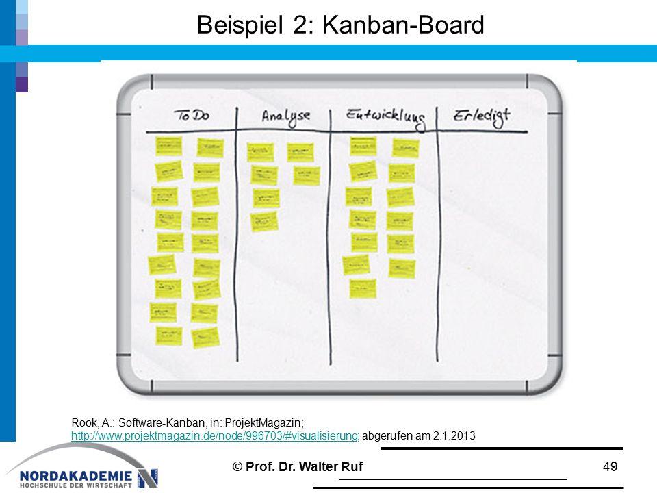 Beispiel 2: Kanban-Board 49 Rook, A.: Software-Kanban, in: ProjektMagazin; http://www.projektmagazin.de/node/996703/#visualisierung; abgerufen am 2.1.