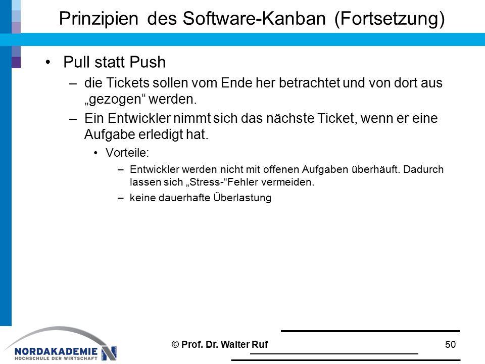 """Prinzipien des Software-Kanban (Fortsetzung) Pull statt Push –die Tickets sollen vom Ende her betrachtet und von dort aus """"gezogen"""" werden. –Ein Entwi"""