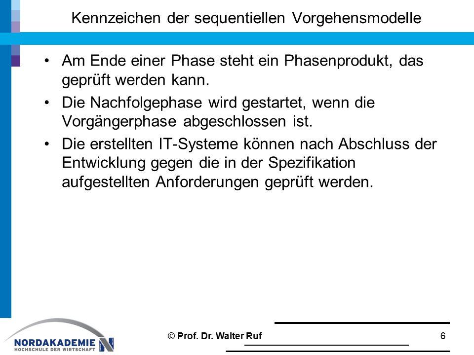 """klassischer Projektverlauf: ""agiler Projektverlauf 17© Prof. Dr. Walter Ruf"