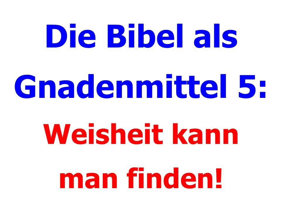 Die Bibel als Gnadenmittel 5: Weisheit kann man finden!