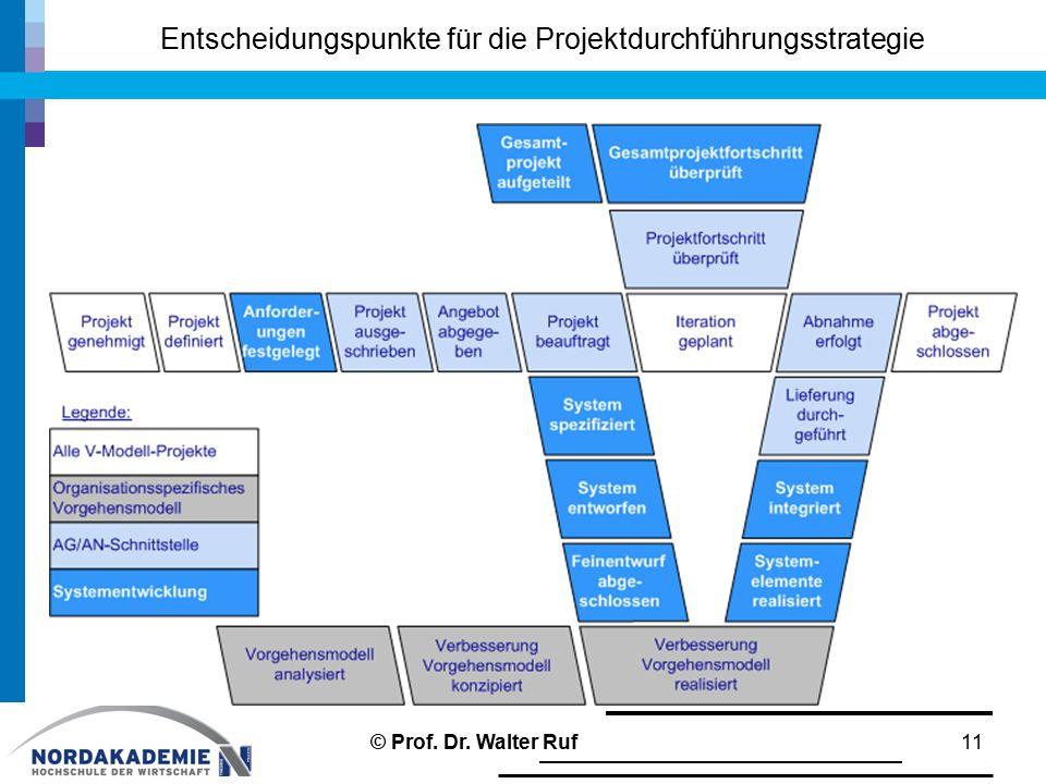 Entscheidungspunkte für die Projektdurchführungsstrategie 11© Prof. Dr. Walter Ruf