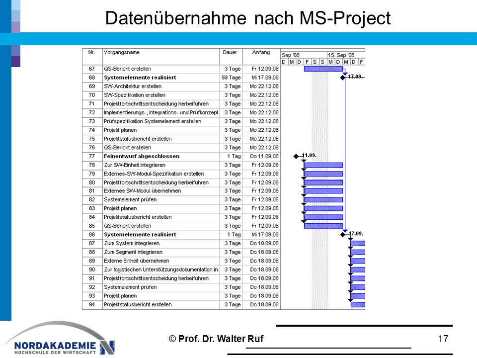 Datenübernahme nach MS-Project 17© Prof. Dr. Walter Ruf
