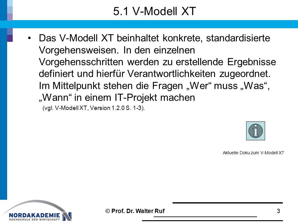 5.1 V-Modell XT Das V-Modell XT beinhaltet konkrete, standardisierte Vorgehensweisen.