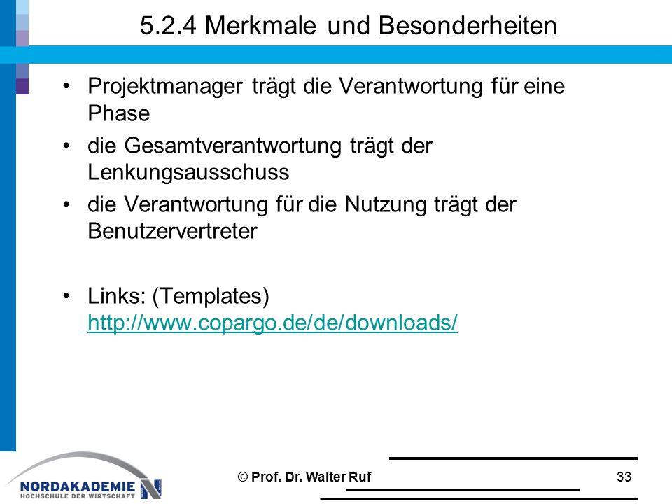 5.2.4 Merkmale und Besonderheiten Projektmanager trägt die Verantwortung für eine Phase die Gesamtverantwortung trägt der Lenkungsausschuss die Verantwortung für die Nutzung trägt der Benutzervertreter Links: (Templates) http://www.copargo.de/de/downloads/ http://www.copargo.de/de/downloads/ 33© Prof.