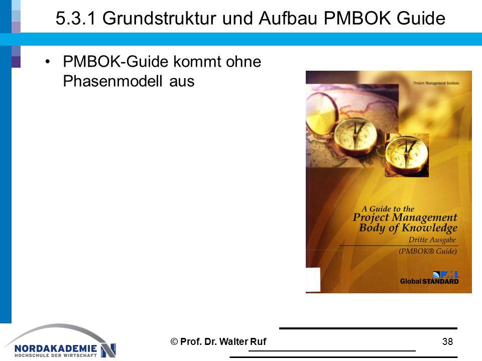 5.3.1 Grundstruktur und Aufbau PMBOK Guide PMBOK-Guide kommt ohne Phasenmodell aus 38© Prof.