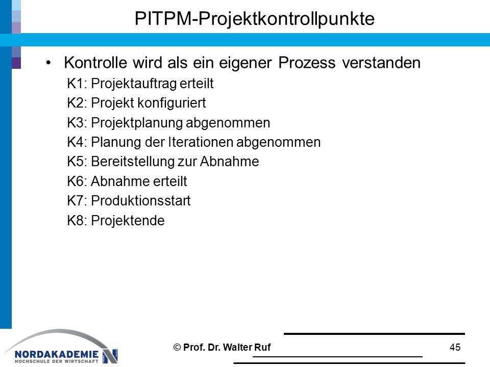 PITPM-Projektkontrollpunkte Kontrolle wird als ein eigener Prozess verstanden K1: Projektauftrag erteilt K2: Projekt konfiguriert K3: Projektplanung abgenommen K4: Planung der Iterationen abgenommen K5: Bereitstellung zur Abnahme K6: Abnahme erteilt K7: Produktionsstart K8: Projektende © Prof.