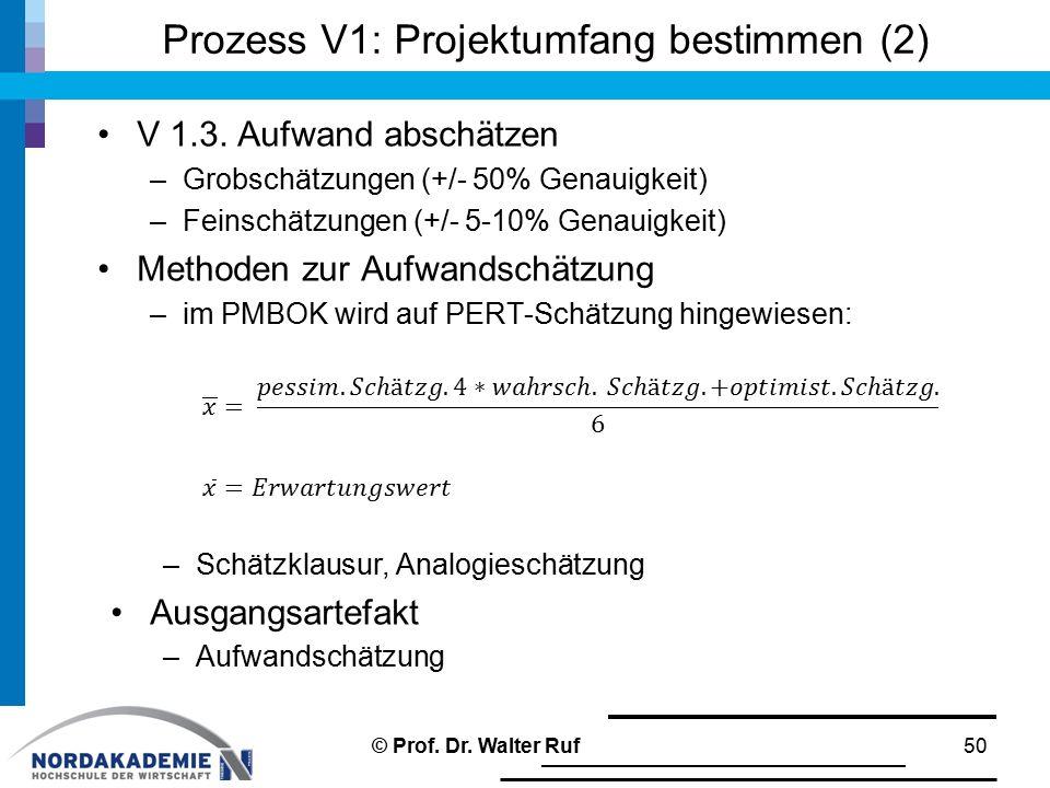 Prozess V1: Projektumfang bestimmen (2) © Prof. Dr. Walter Ruf50