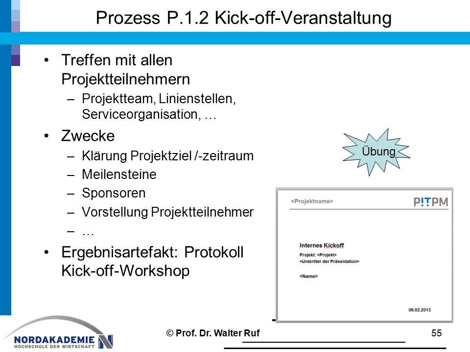 Prozess P.1.2 Kick-off-Veranstaltung Treffen mit allen Projektteilnehmern –Projektteam, Linienstellen, Serviceorganisation, … Zwecke –Klärung Projektziel /-zeitraum –Meilensteine –Sponsoren –Vorstellung Projektteilnehmer –… Ergebnisartefakt: Protokoll Kick-off-Workshop © Prof.
