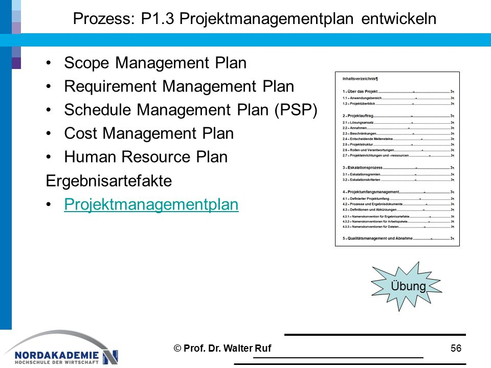 Prozess: P1.3 Projektmanagementplan entwickeln Scope Management Plan Requirement Management Plan Schedule Management Plan (PSP) Cost Management Plan H