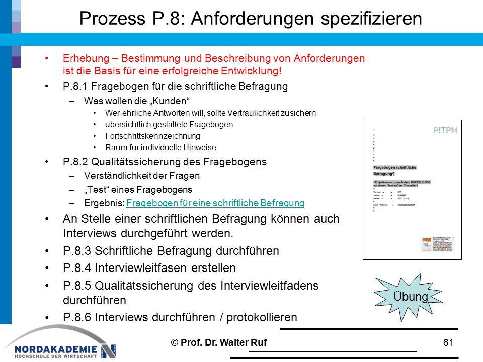 Prozess P.8: Anforderungen spezifizieren Erhebung – Bestimmung und Beschreibung von Anforderungen ist die Basis für eine erfolgreiche Entwicklung.