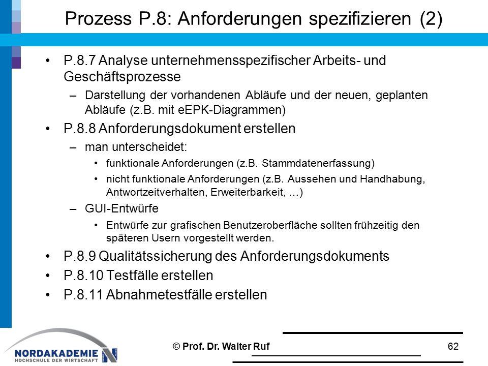 Prozess P.8: Anforderungen spezifizieren (2) P.8.7 Analyse unternehmensspezifischer Arbeits- und Geschäftsprozesse –Darstellung der vorhandenen Abläufe und der neuen, geplanten Abläufe (z.B.