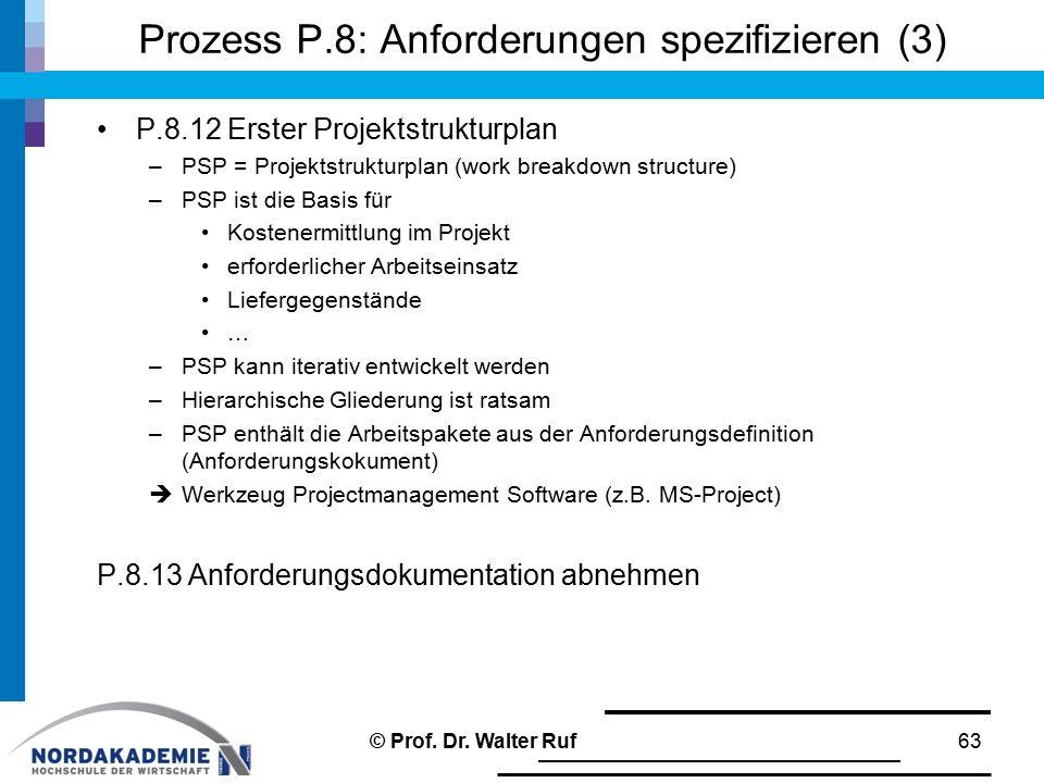 Prozess P.8: Anforderungen spezifizieren (3) P.8.12 Erster Projektstrukturplan –PSP = Projektstrukturplan (work breakdown structure) –PSP ist die Basis für Kostenermittlung im Projekt erforderlicher Arbeitseinsatz Liefergegenstände … –PSP kann iterativ entwickelt werden –Hierarchische Gliederung ist ratsam –PSP enthält die Arbeitspakete aus der Anforderungsdefinition (Anforderungskokument)  Werkzeug Projectmanagement Software (z.B.