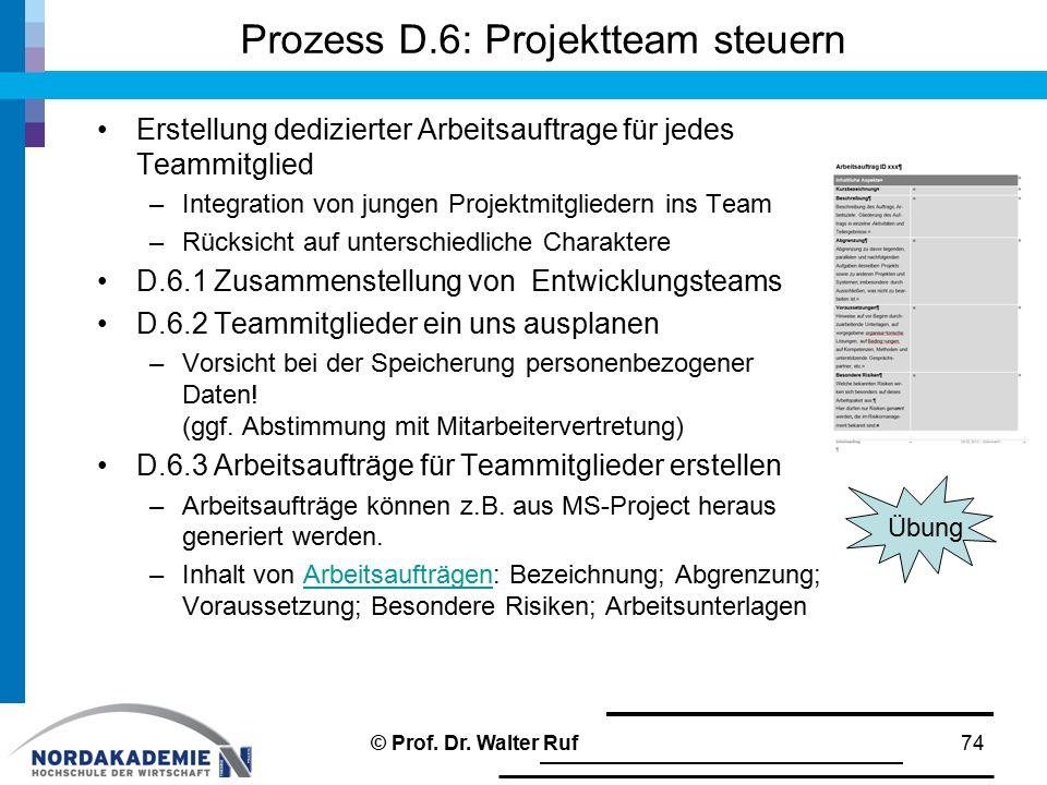 Prozess D.6: Projektteam steuern Erstellung dedizierter Arbeitsauftrage für jedes Teammitglied –Integration von jungen Projektmitgliedern ins Team –Rücksicht auf unterschiedliche Charaktere D.6.1 Zusammenstellung von Entwicklungsteams D.6.2 Teammitglieder ein uns ausplanen –Vorsicht bei der Speicherung personenbezogener Daten.