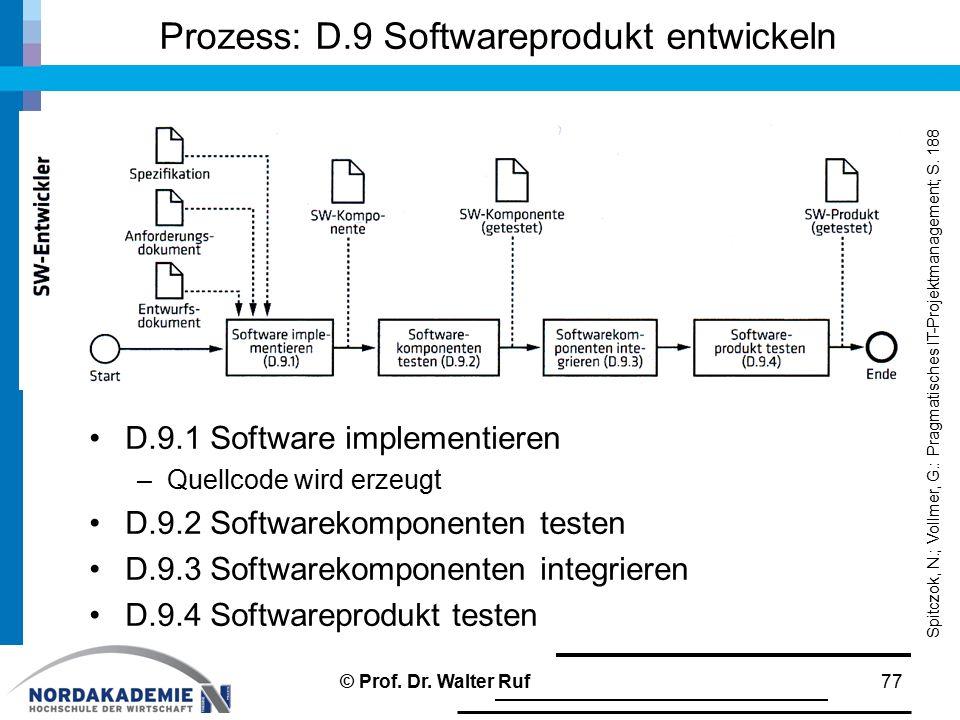Prozess: D.9 Softwareprodukt entwickeln D.9.1 Software implementieren –Quellcode wird erzeugt D.9.2 Softwarekomponenten testen D.9.3 Softwarekomponenten integrieren D.9.4 Softwareprodukt testen © Prof.